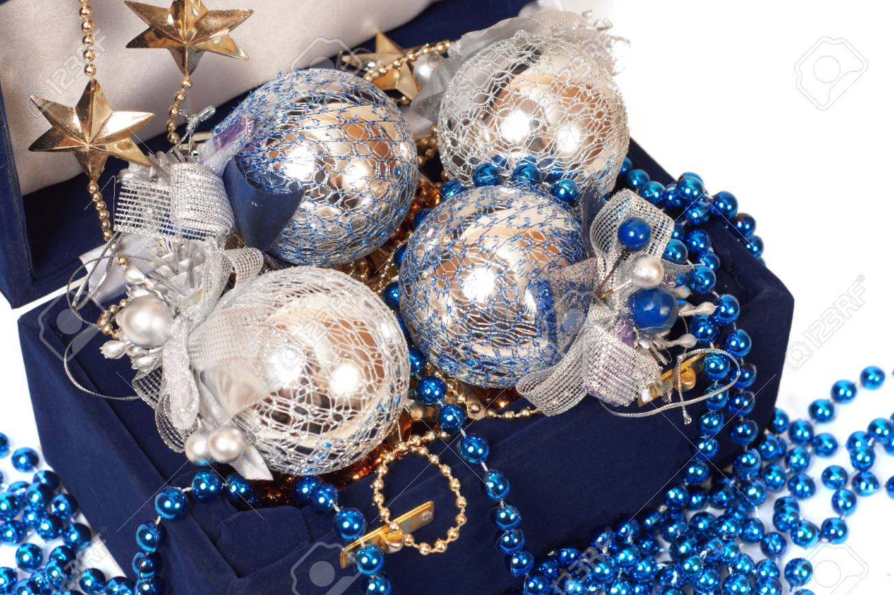 christmas decoration in blue box close-up Stock Photo - 18175634