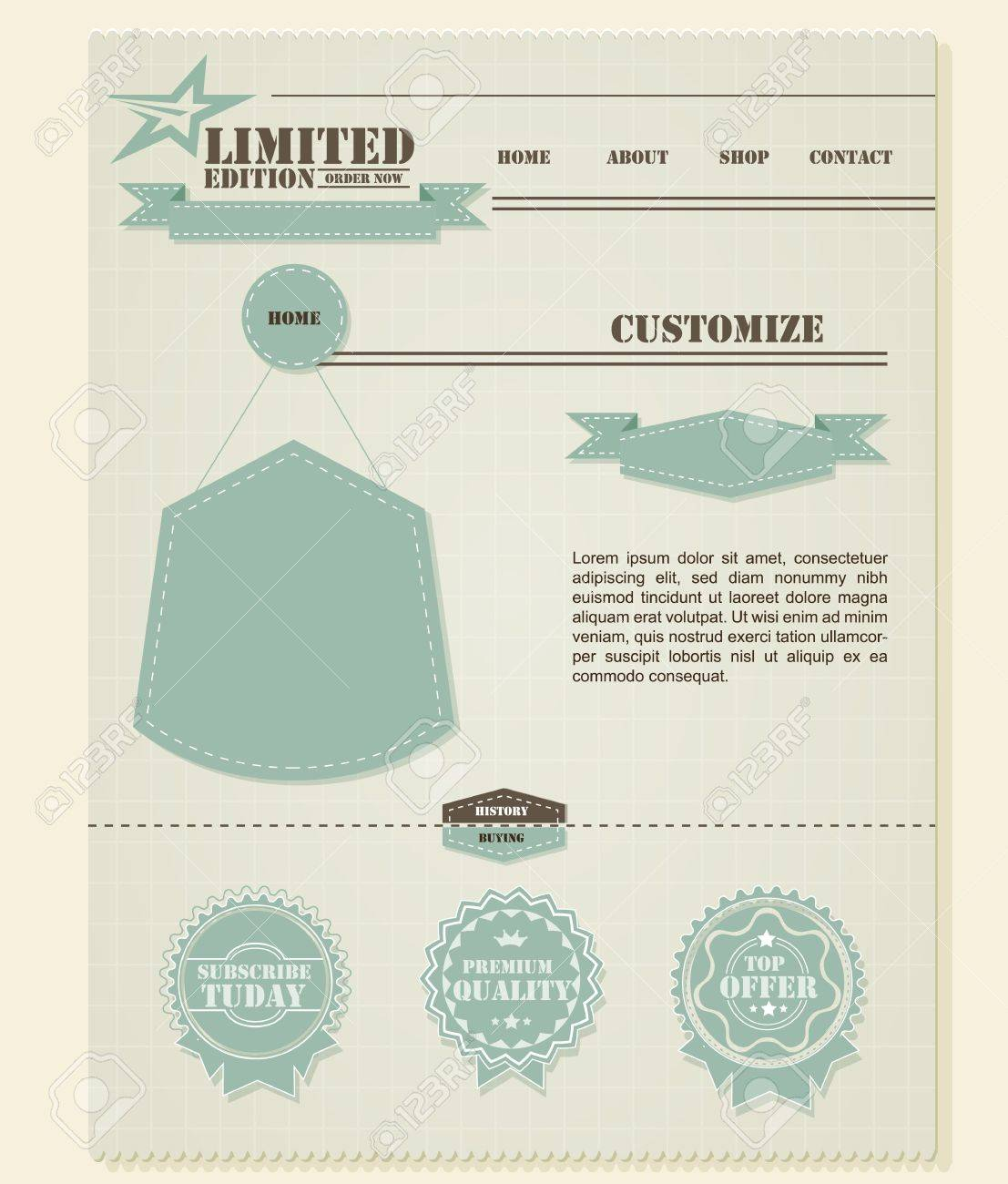 Retro Vintage Styled Website Template  | EPS10 Compatibility Required Stock Vector - 11194793