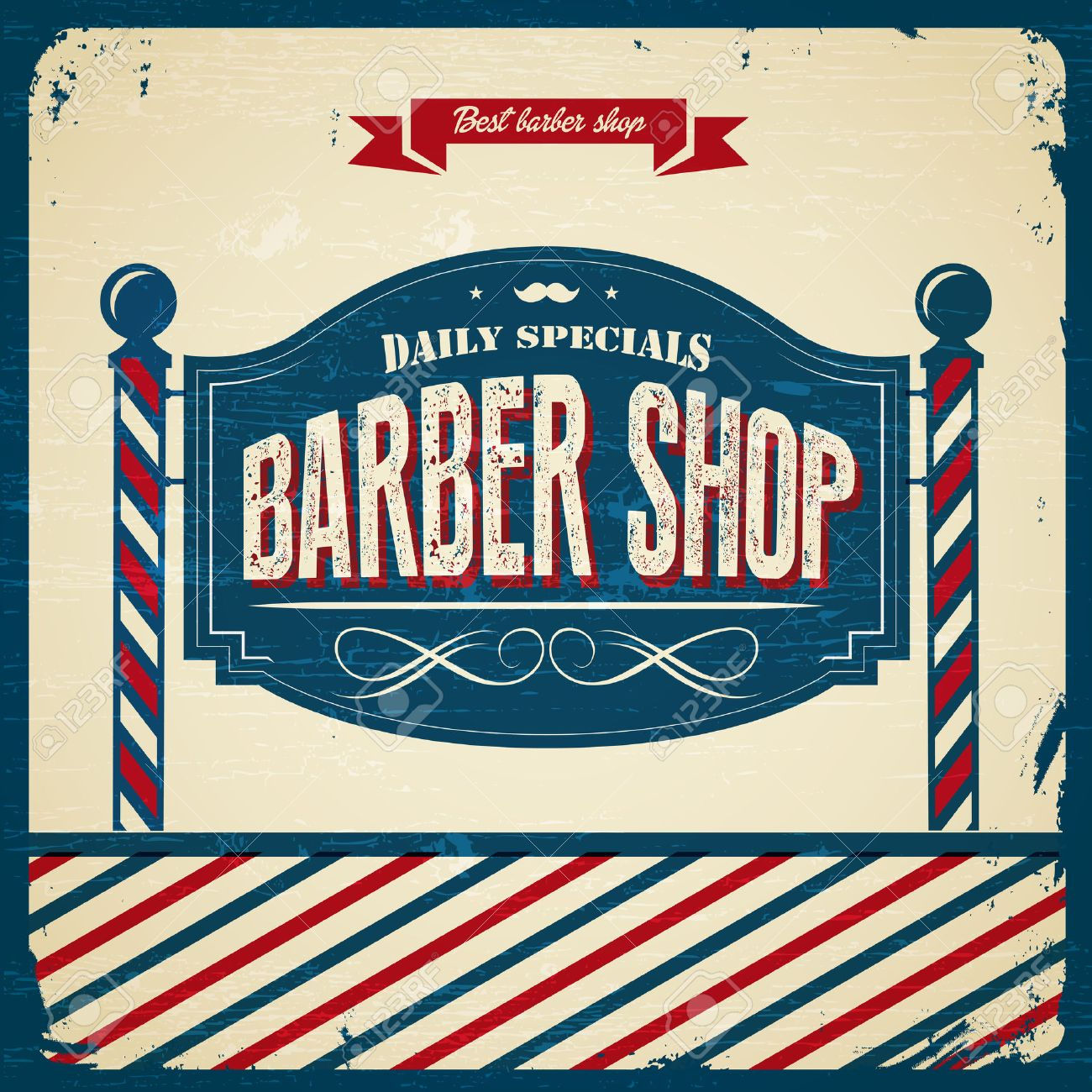 Antique barber shop sign - Retro Barber Shop Vintage Style Stock Vector 26202509