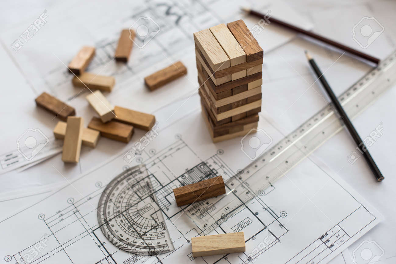 Blueprint wooden block tower planning risk and strategy in stock blueprint wooden block tower planning risk and strategy in business or architectural project stock malvernweather Image collections