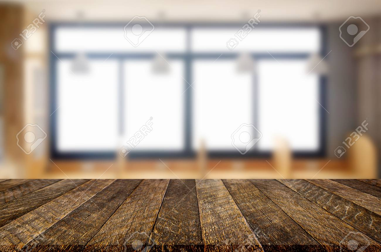 Exceptionnel Empty Of Wood Table Top On Blur Of Window Glass In The Morning Background.  For