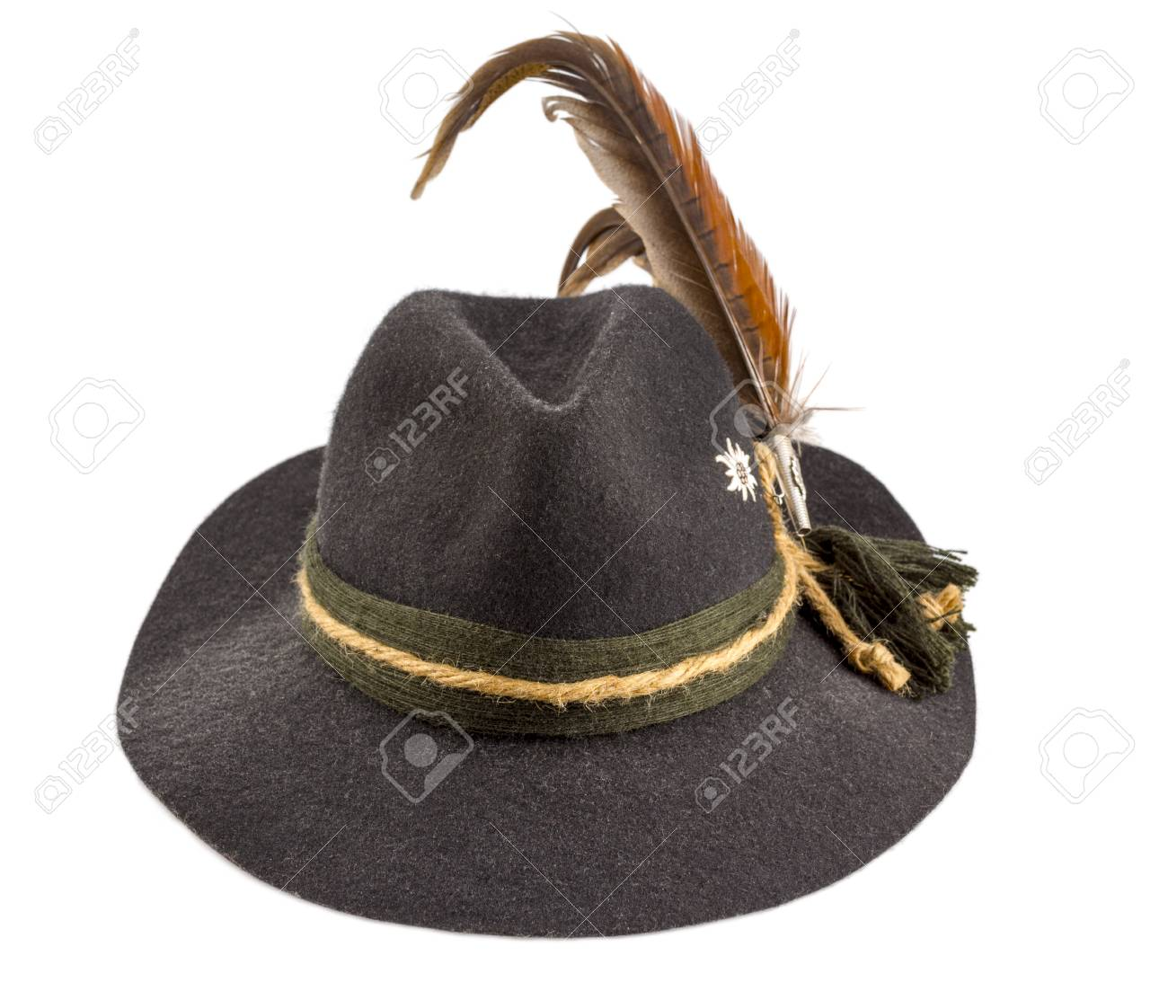 53e52f7f76c Tyrolean Hat With A Feather On A White Background Stock Photo ...