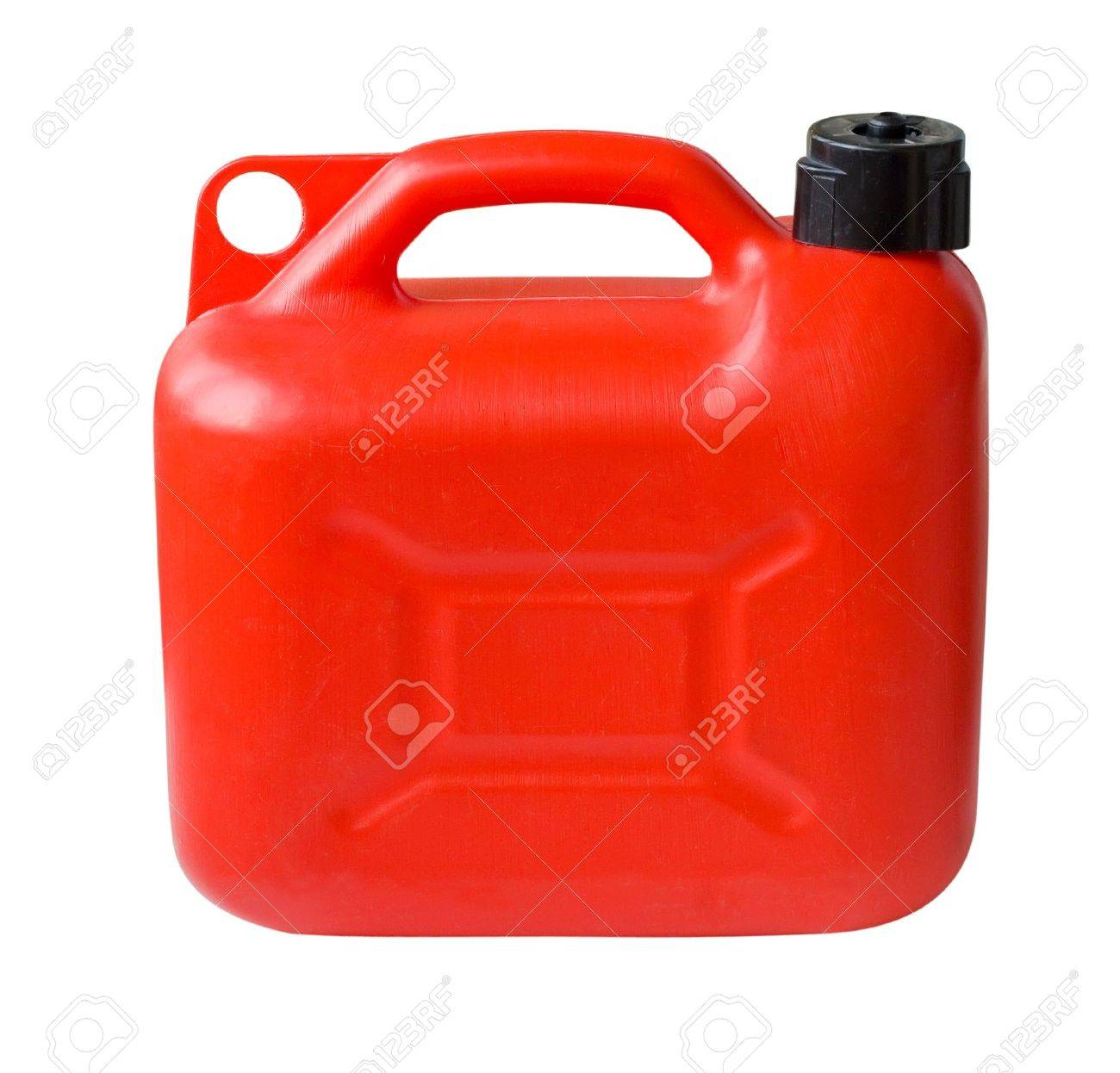 Red Plastic Gas can (fuel container) isolated with clipping path Stock Photo - 8202524