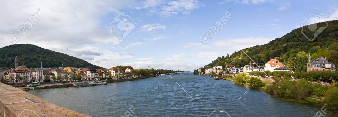View to river panorama of famous city Heidelberg, Germany Stock Photo - 13592488
