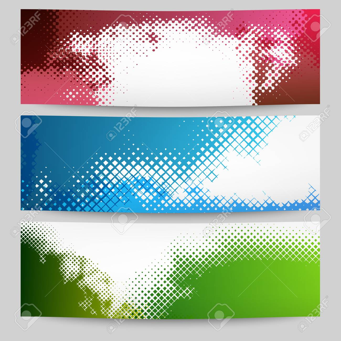 Set of halftone banners Stock Vector - 18685488
