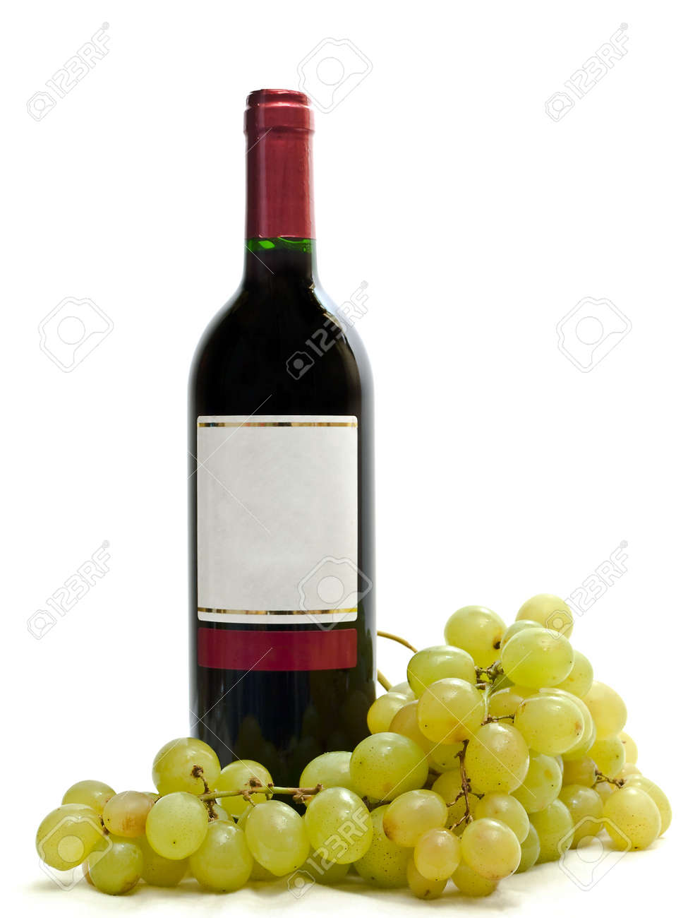 bottle of red wine with vine against the white background Stock Photo - 4274696