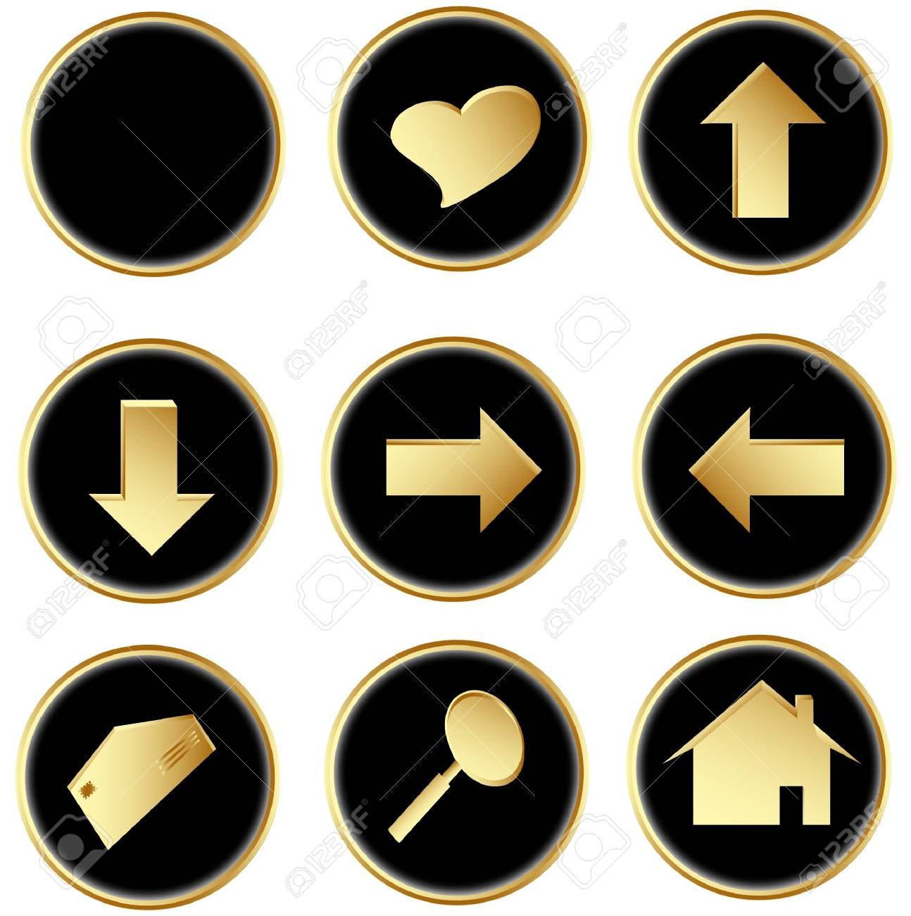 Illustration of the black round web buttons Stock Photo - 4274691