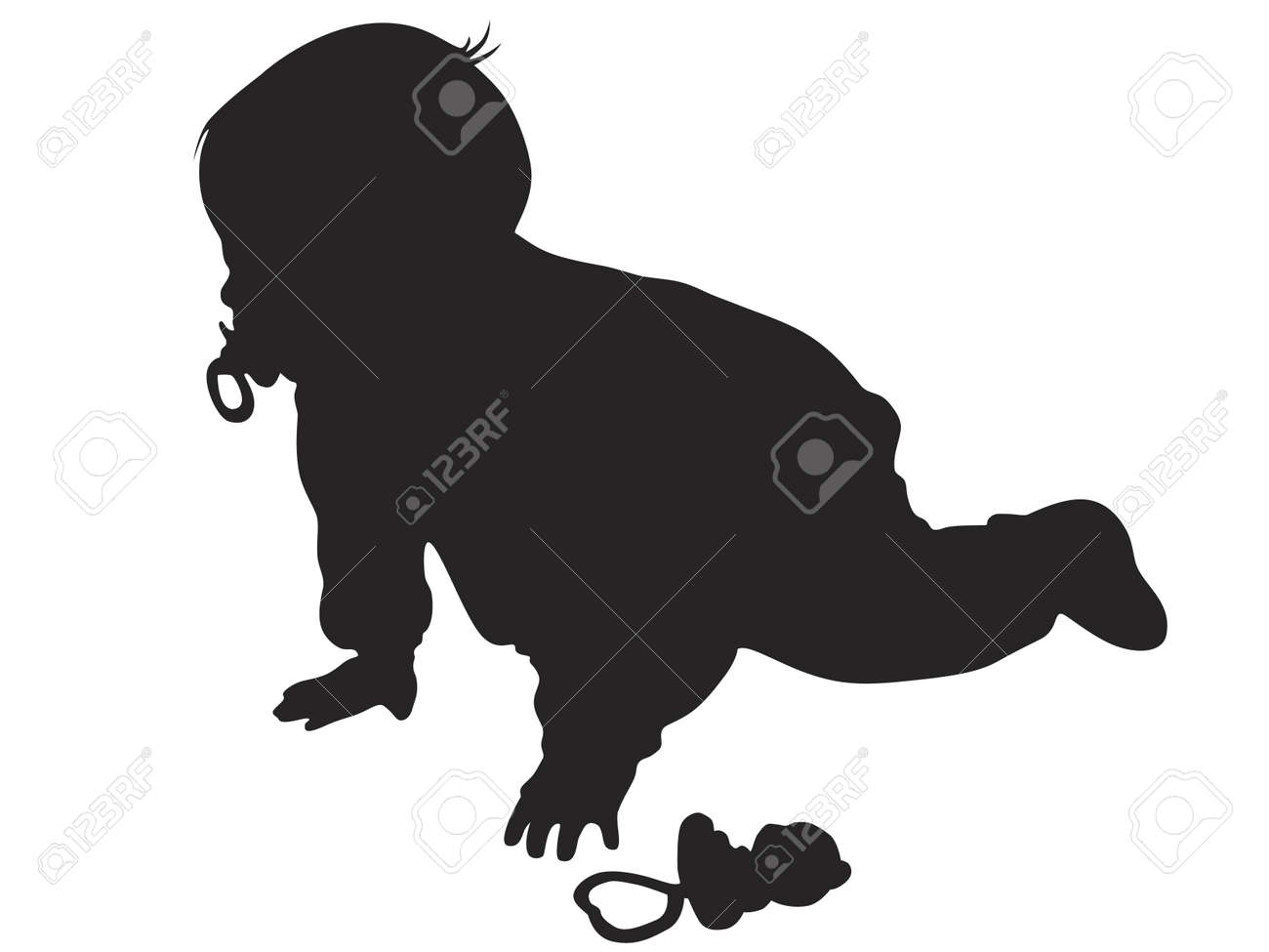 Vector little baby silhouette against the white background - 4501265