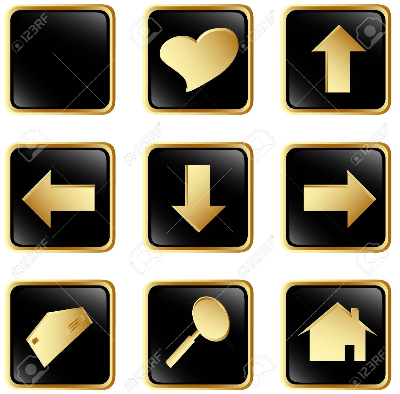 Illustration of the black square web buttons Stock Vector - 4501169