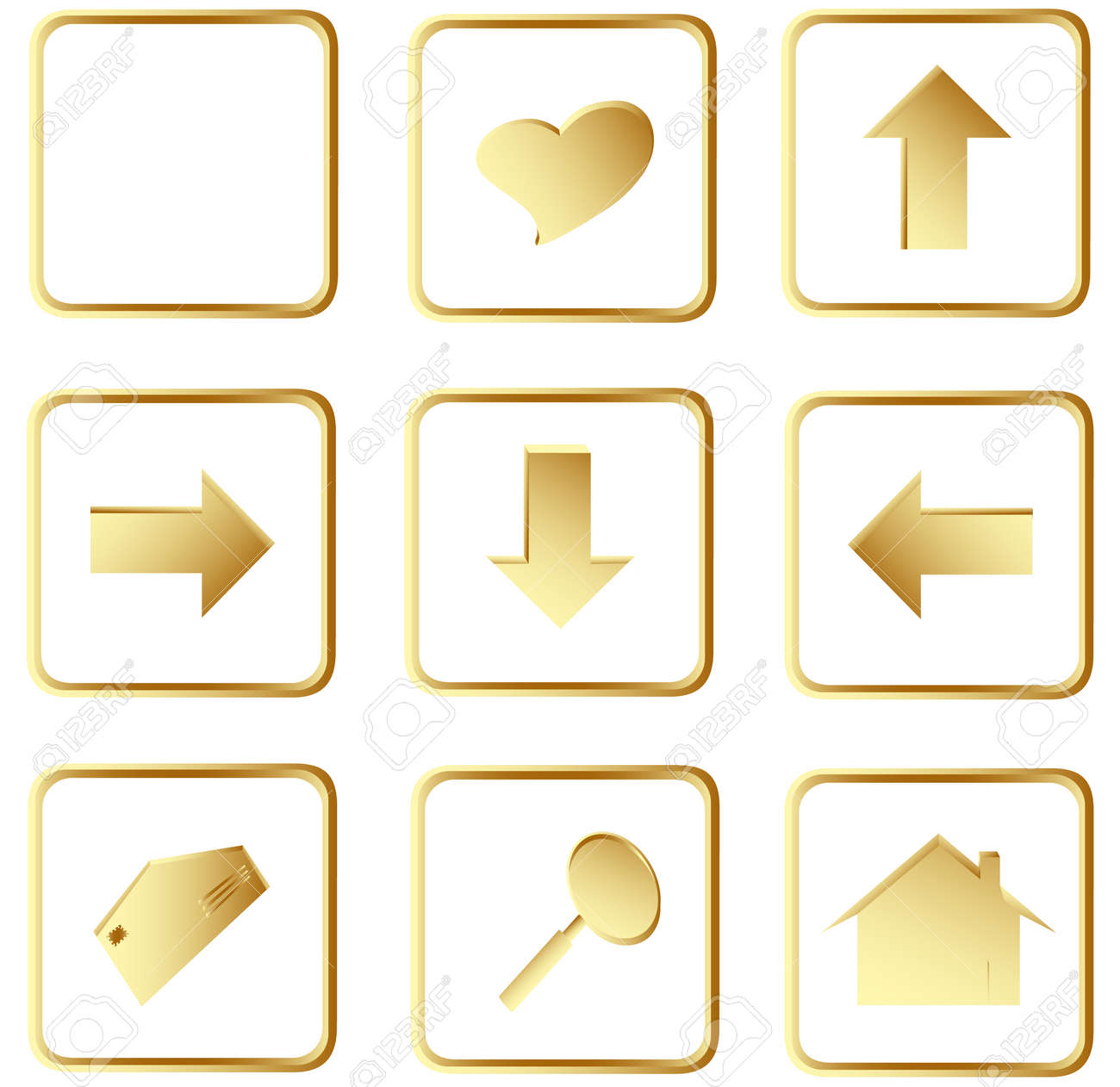 Illustration of the gold square web buttons Stock Vector - 4501178
