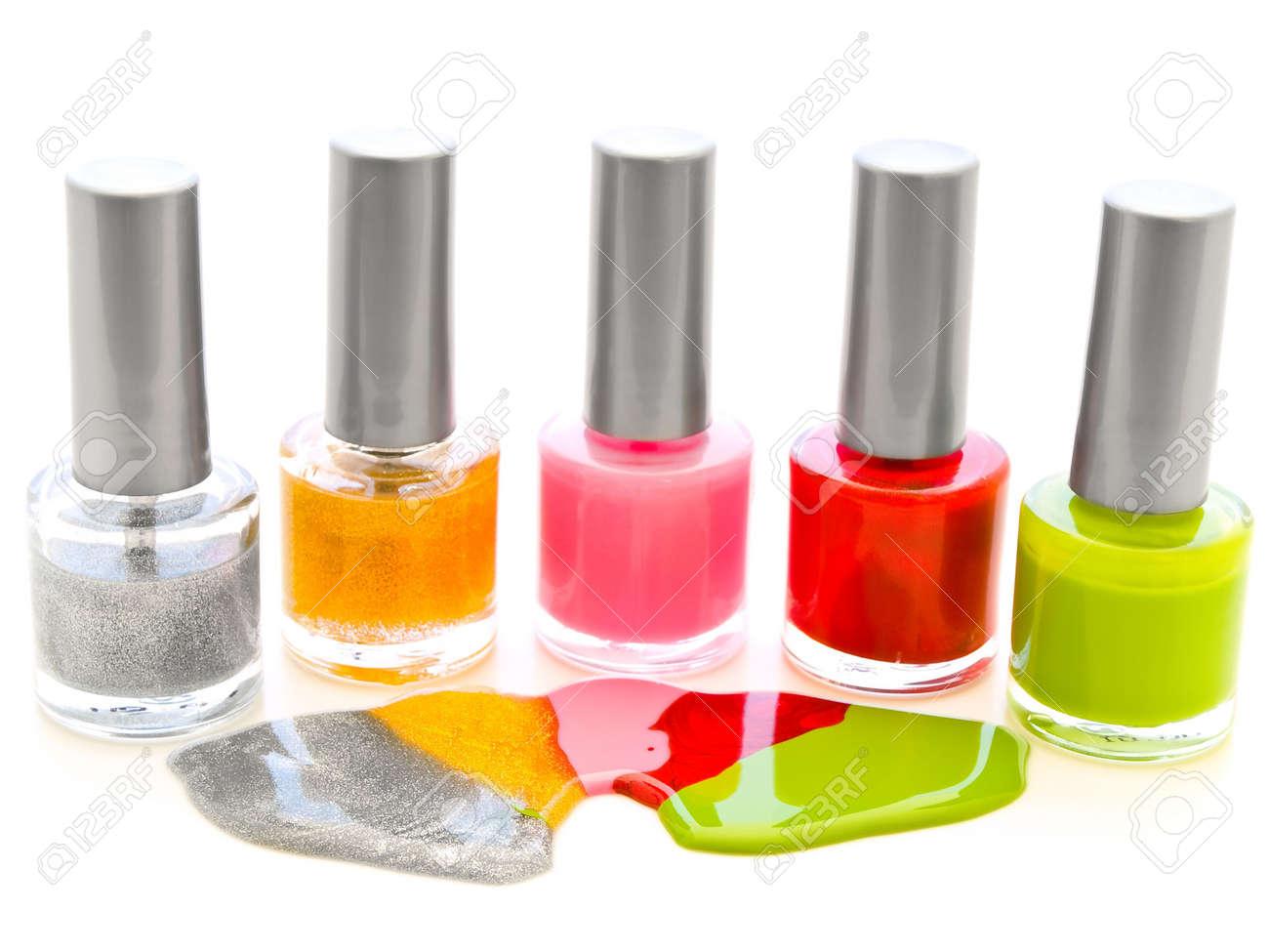 photo of the multicolored liquid lacquer over white background Stock Photo - 4796050