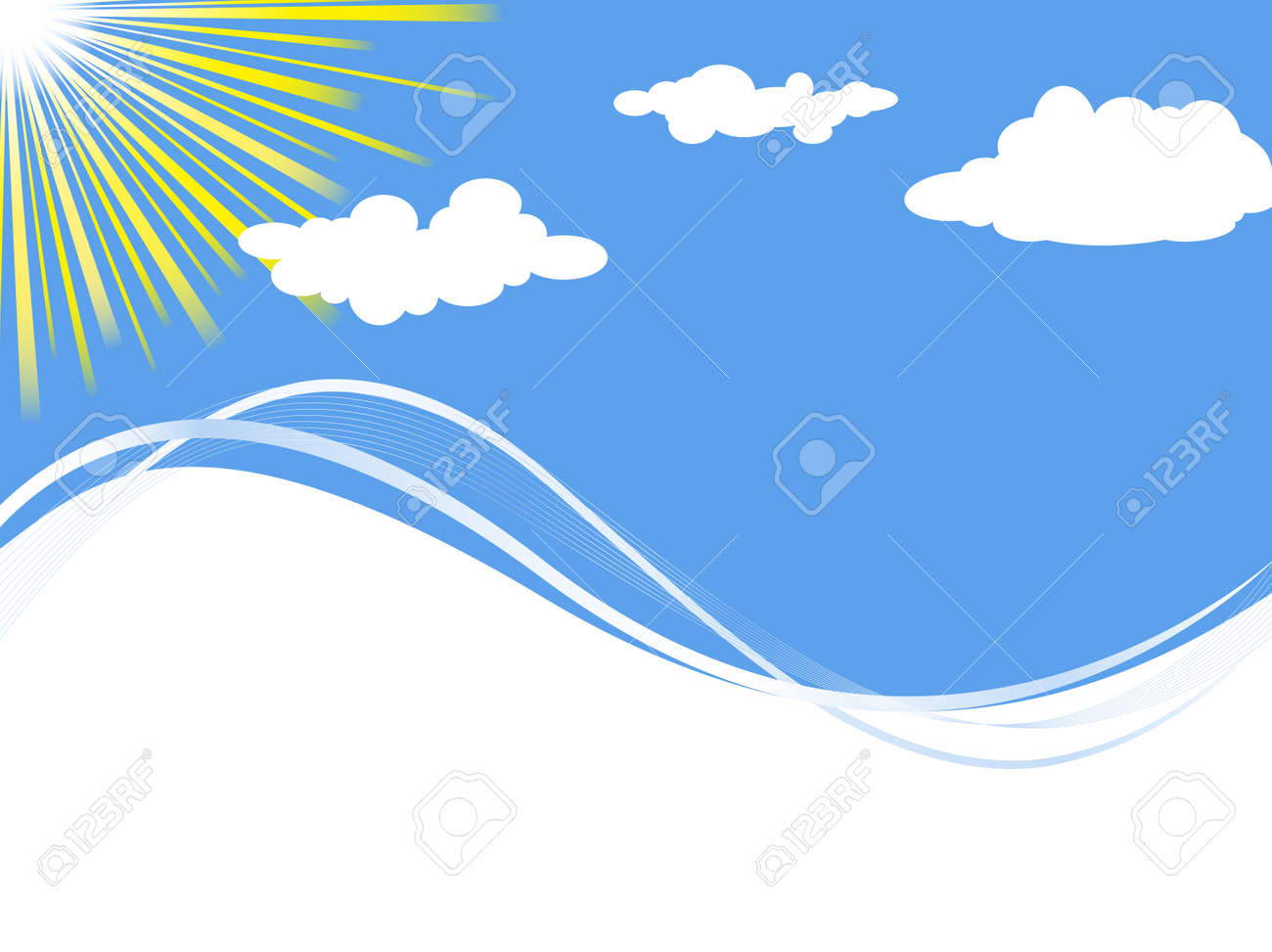 summer frame with sun, clouds and sea imitation. Copyspace for your text Stock Vector - 6824987