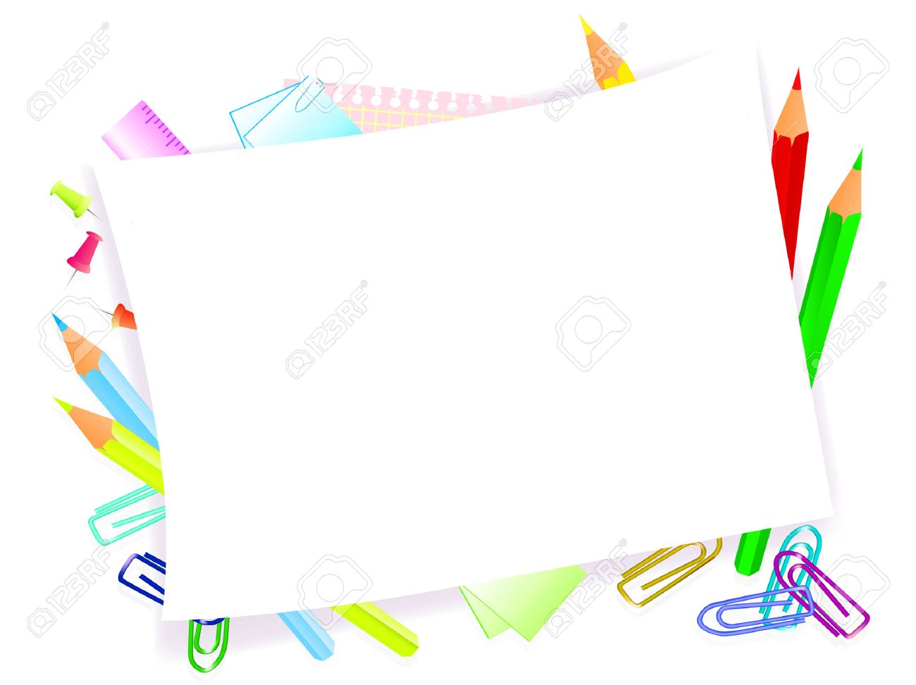 school supplies with frame for tour text Stock Vector - 6872586