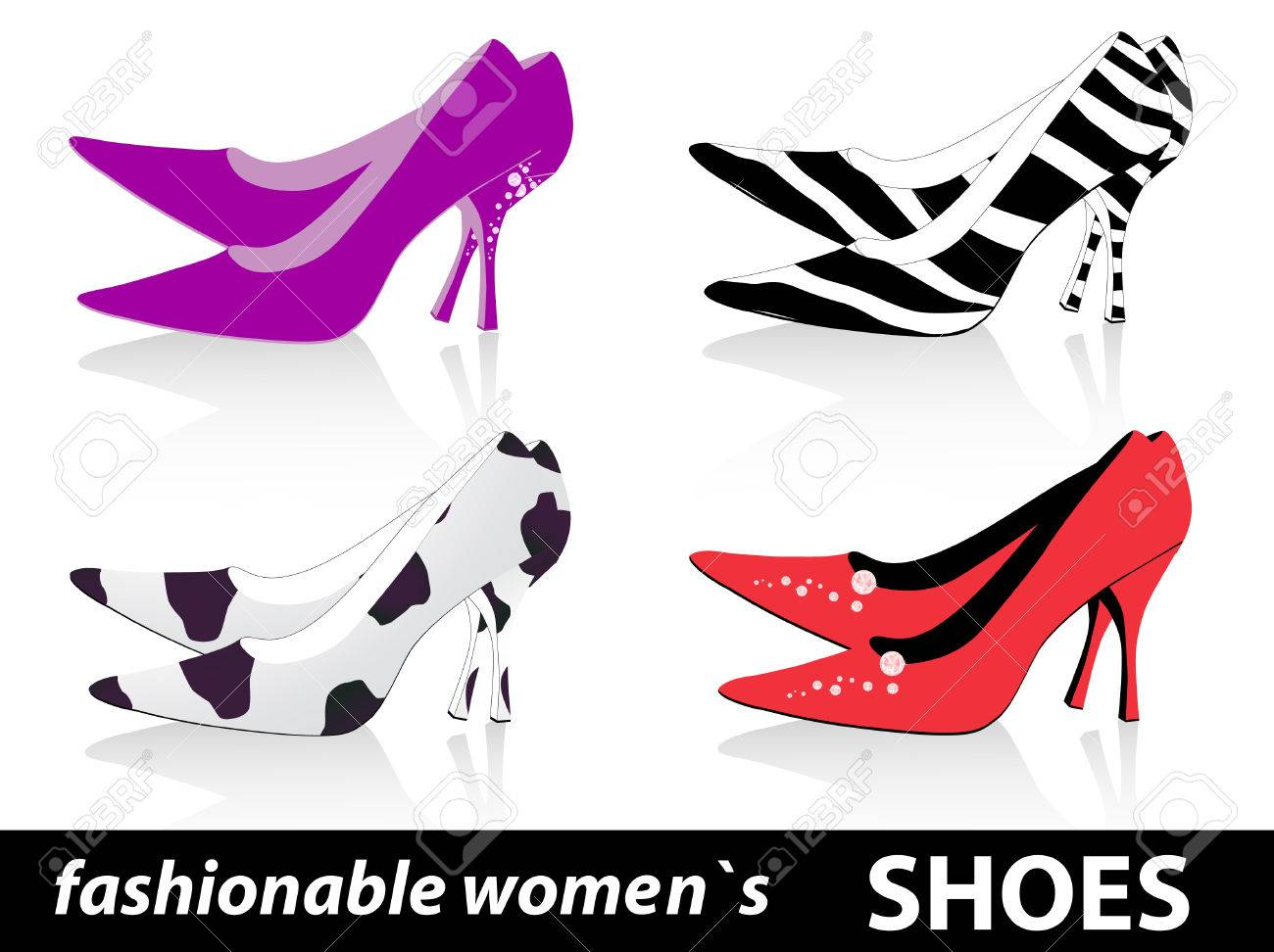 52c1010e48 Set Of Four Pairs Fashionable Women`s Shoes Royalty Free Cliparts ...