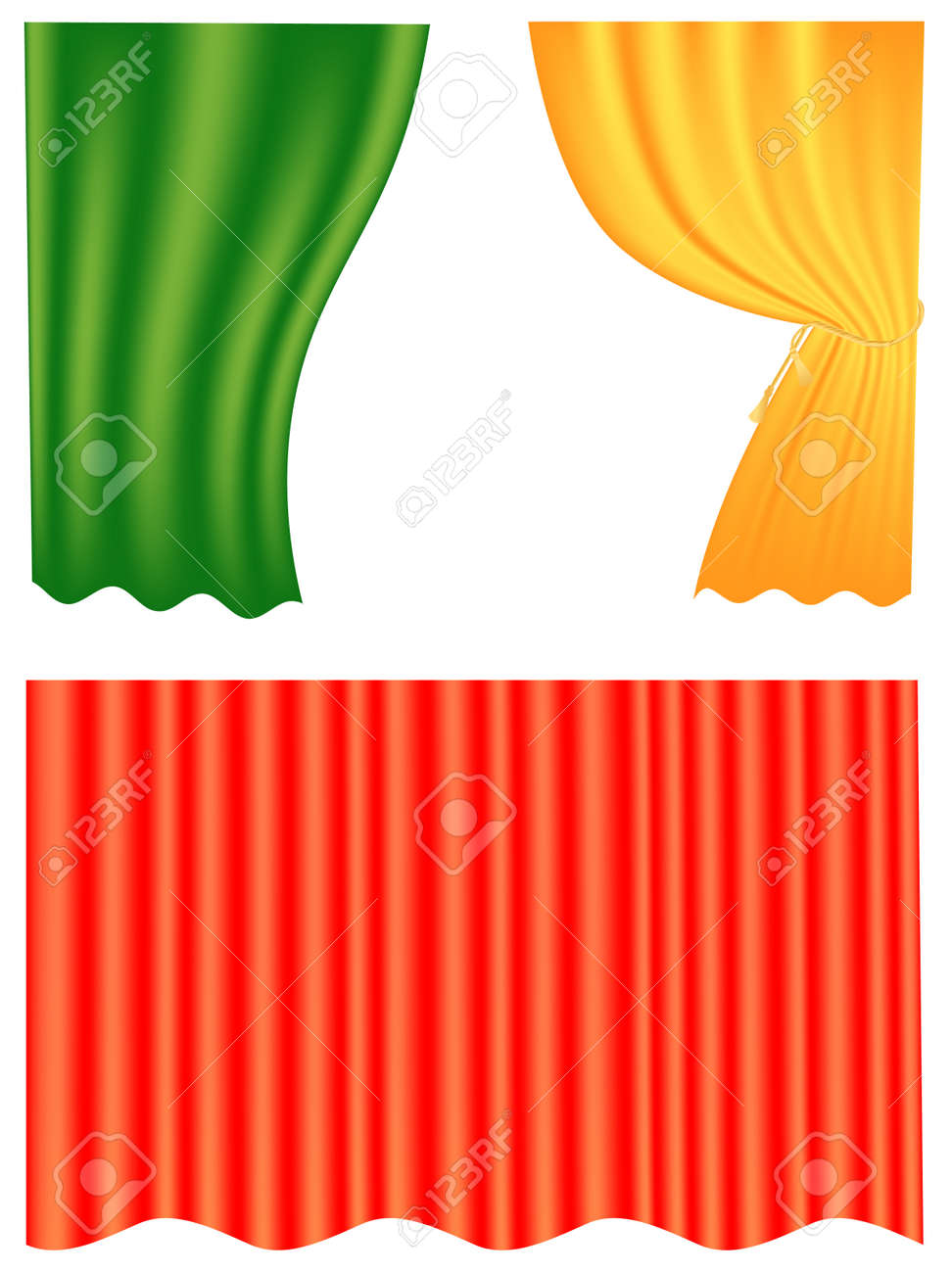 Set of three curtain patterns over white Stock Vector - 7049888