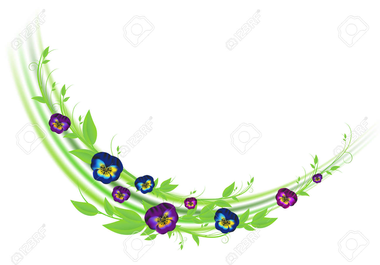floral decoration with pansies and green leaves over white Stock Vector - 7136127
