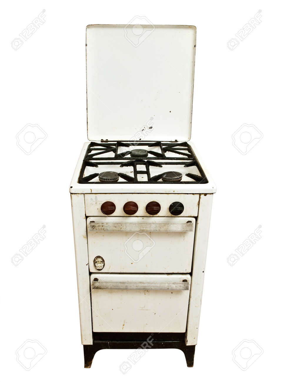 Old Vintage Gas Stove Over White Background Stock Photo, Picture ...