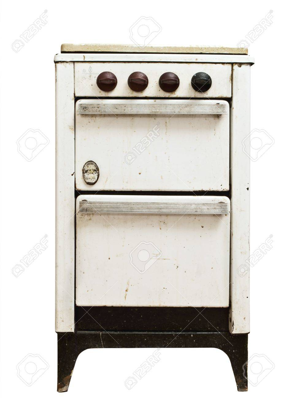 old vintage gas stove over white background Stock Photo - 7303227