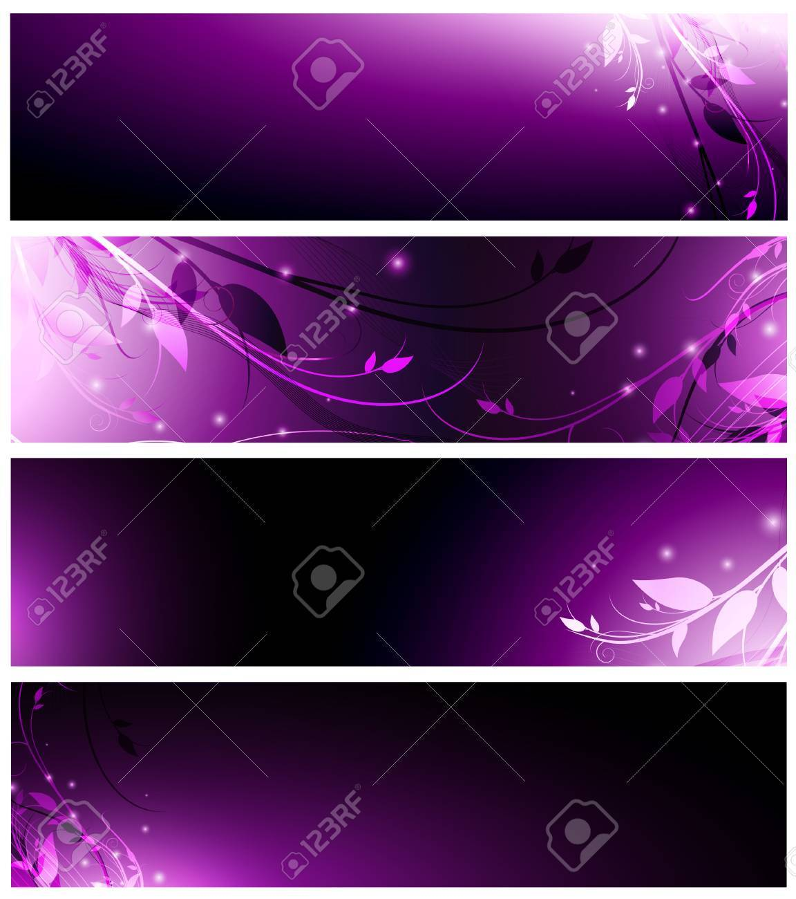 magic floral neon web banner set in violet Stock Vector - 7987985