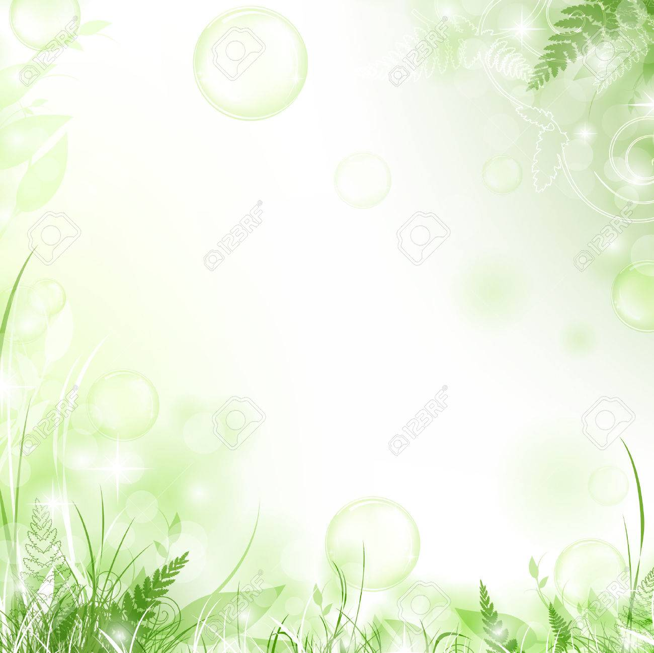 nature floral air background with bubbles Stock Vector - 8145671