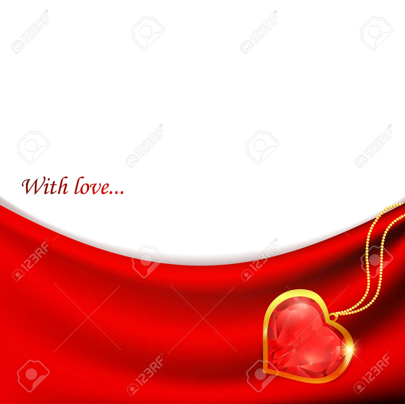 Ruby heart at golden chain at red drapery Stock Vector - 8808292