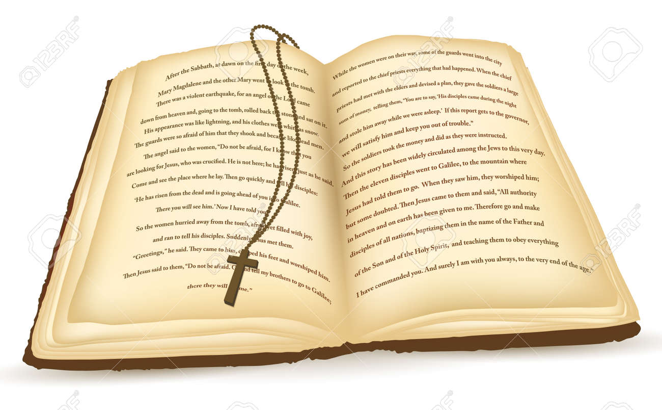 old open bible with cross over white background royalty free