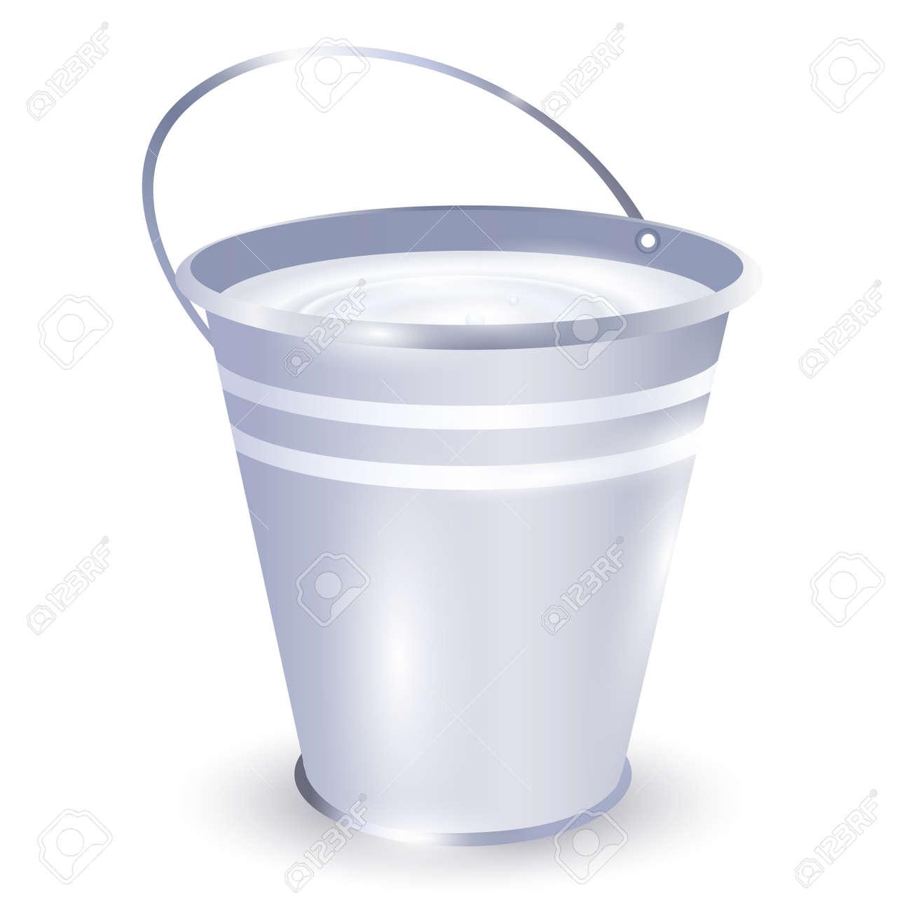 metal bucket with milk over white background Stock Vector - 9083190