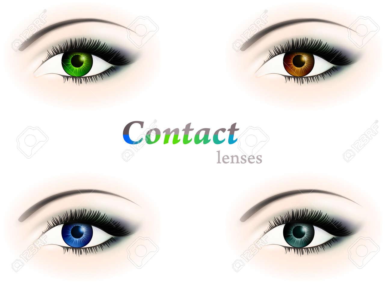 Vier Verschiedene Augen Mit Kontaktlinsen Farbe Braun Blau Grun