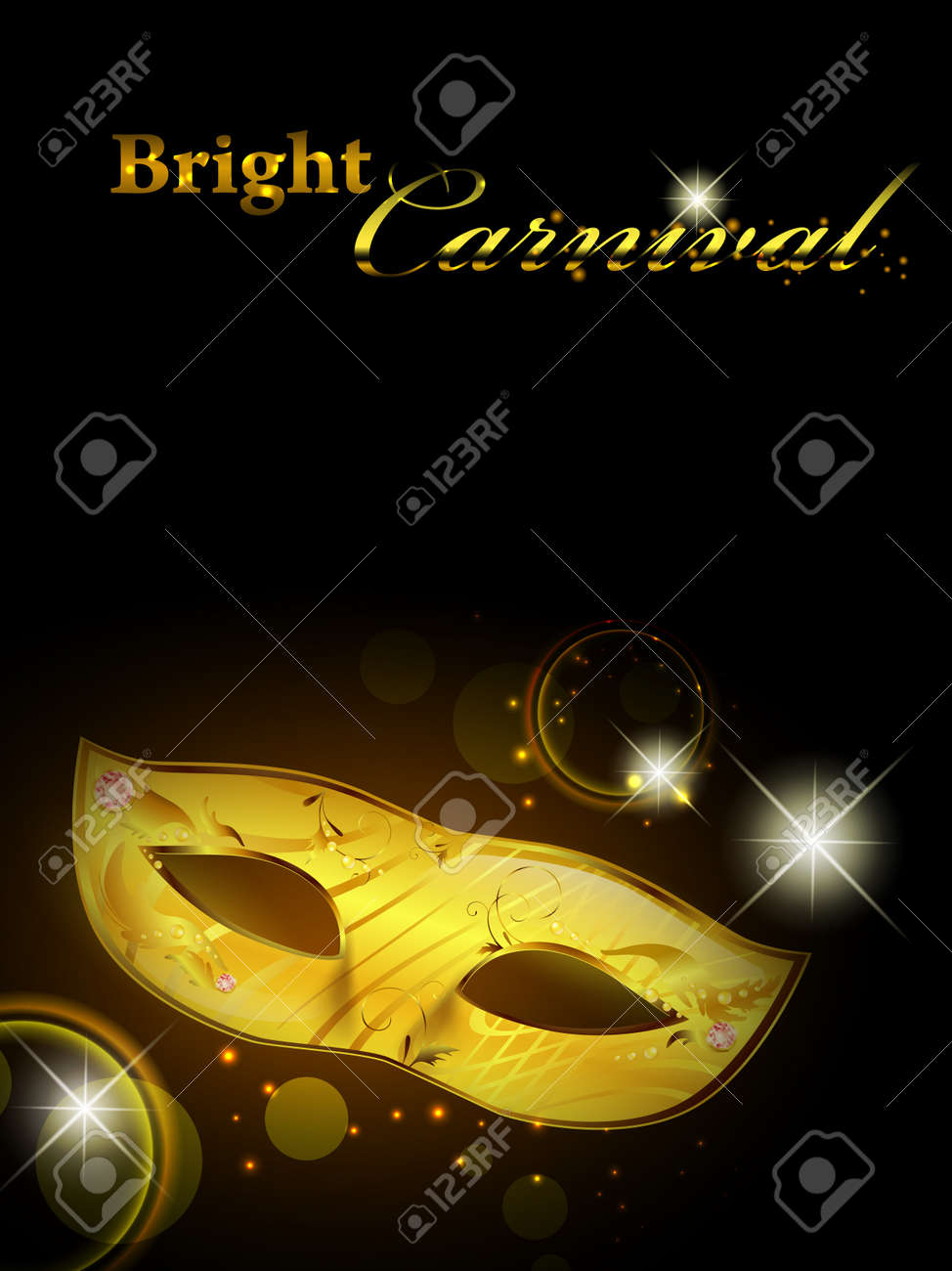 Carnival theme with golden woman mask in the night Stock Vector - 9506823