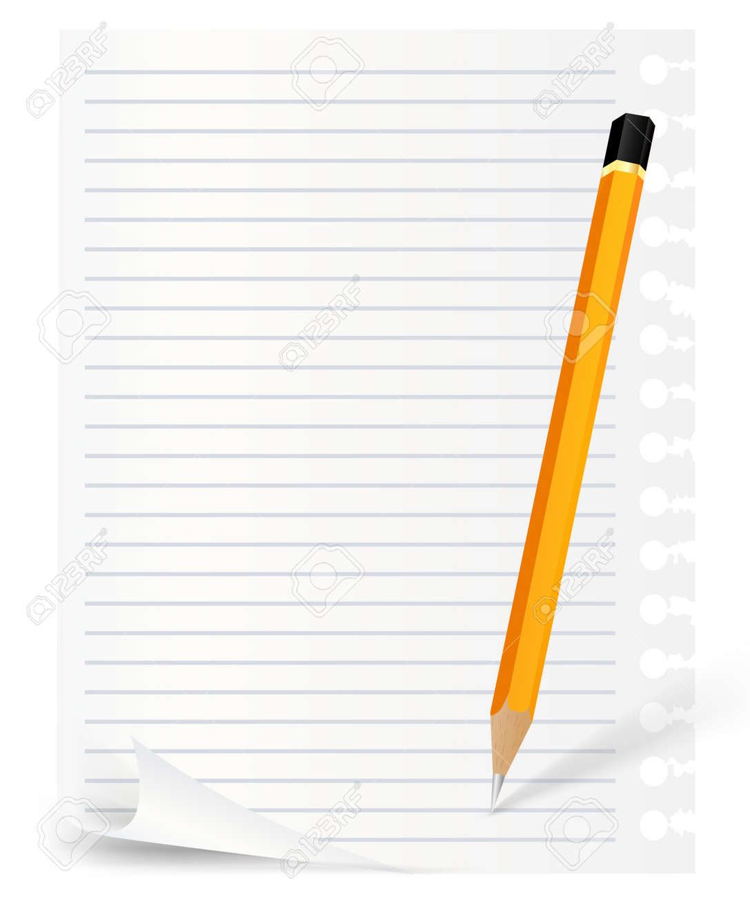 pencil and lined note over white background Stock Vector - 9609574