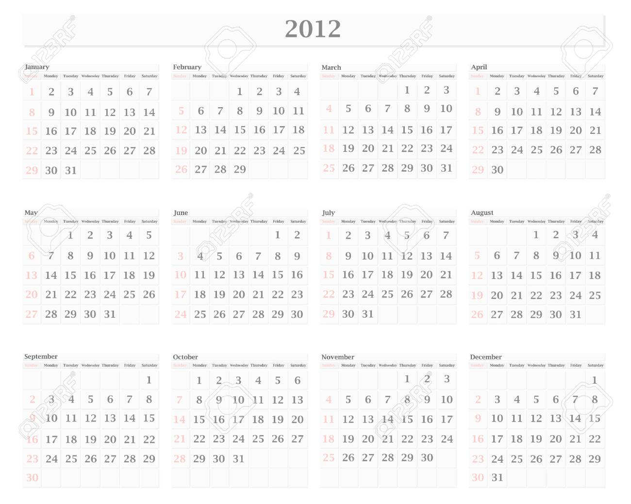 Illustration Of Horizontal 2012 Calendar Template With Borders