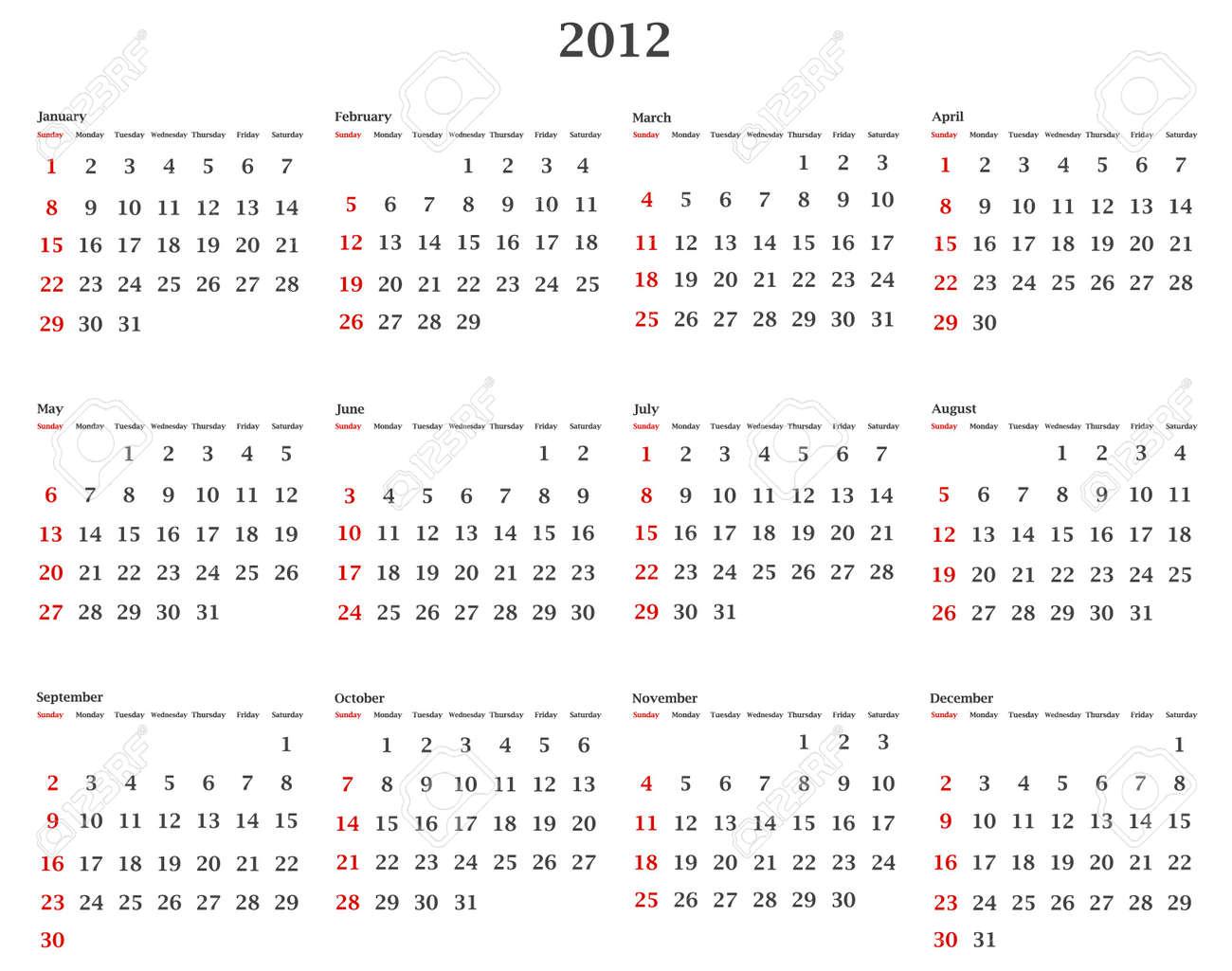Illustration Of Horizontal 2012 Calendar Template Royalty Free