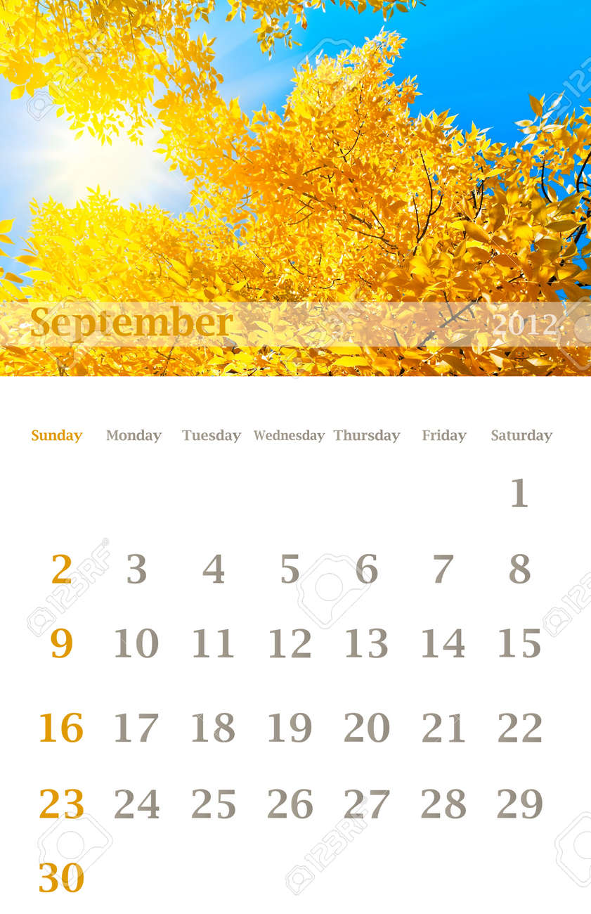 page of 2012 september month wall calendar size 11x17 inch stock