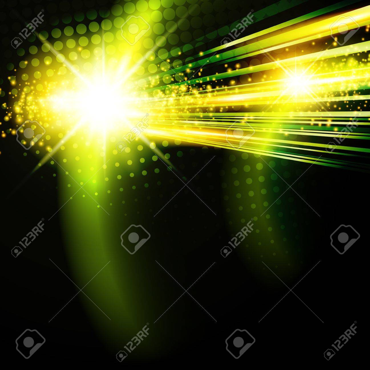 abstract green disco background with star Stock Vector - 11376754