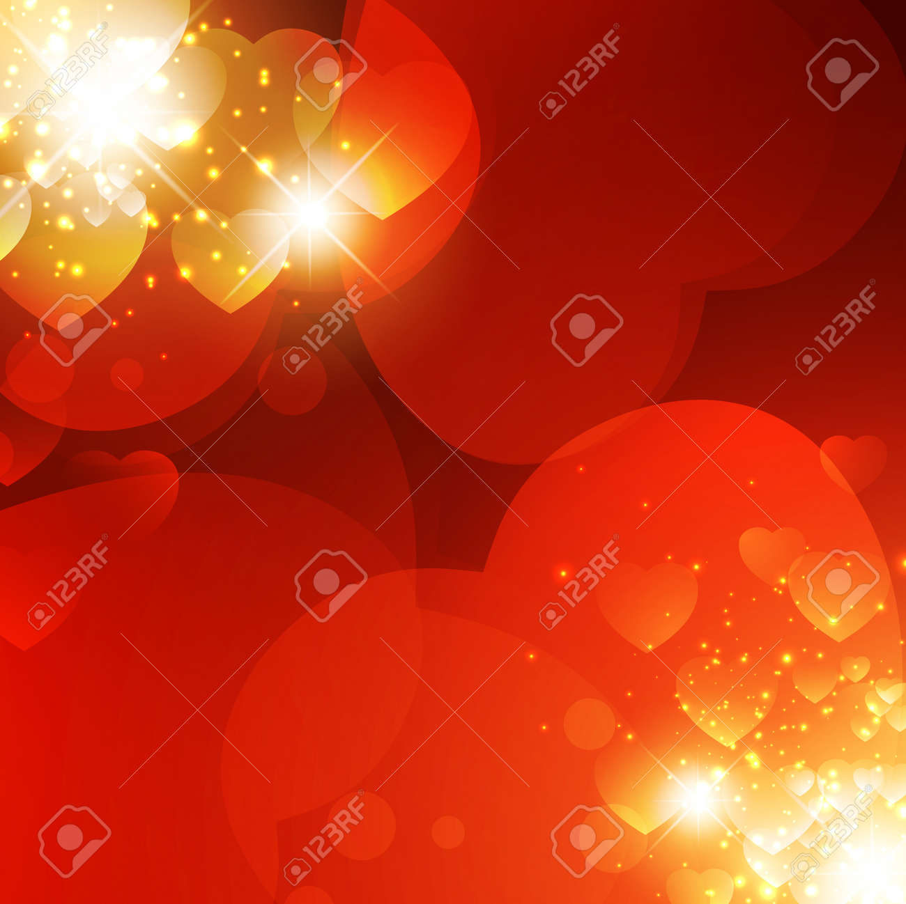 Abstract Valentine background with light and hearts Stock Vector - 11869274
