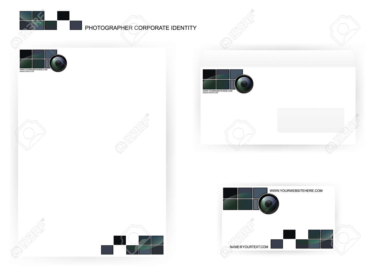 set of photographer corporate identity templates with camera lens Stock Vector - 12822899