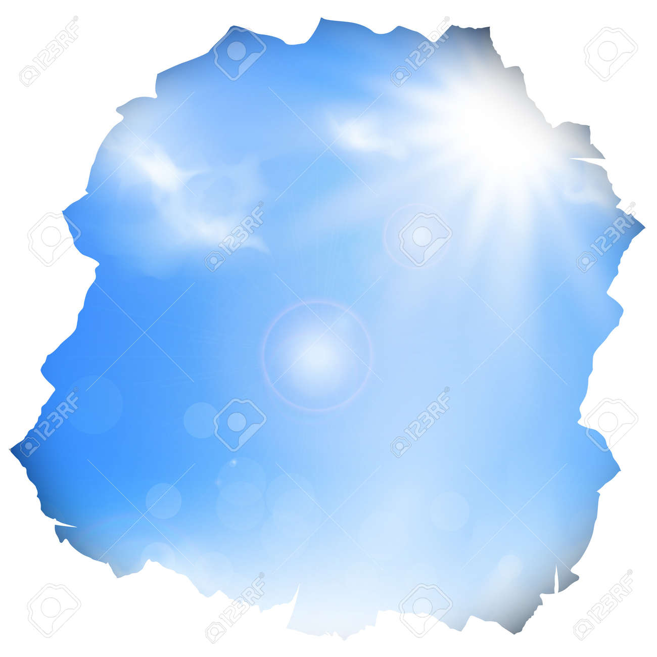 paper hole with blue sky and sun , copyspace Stock Vector - 13468980
