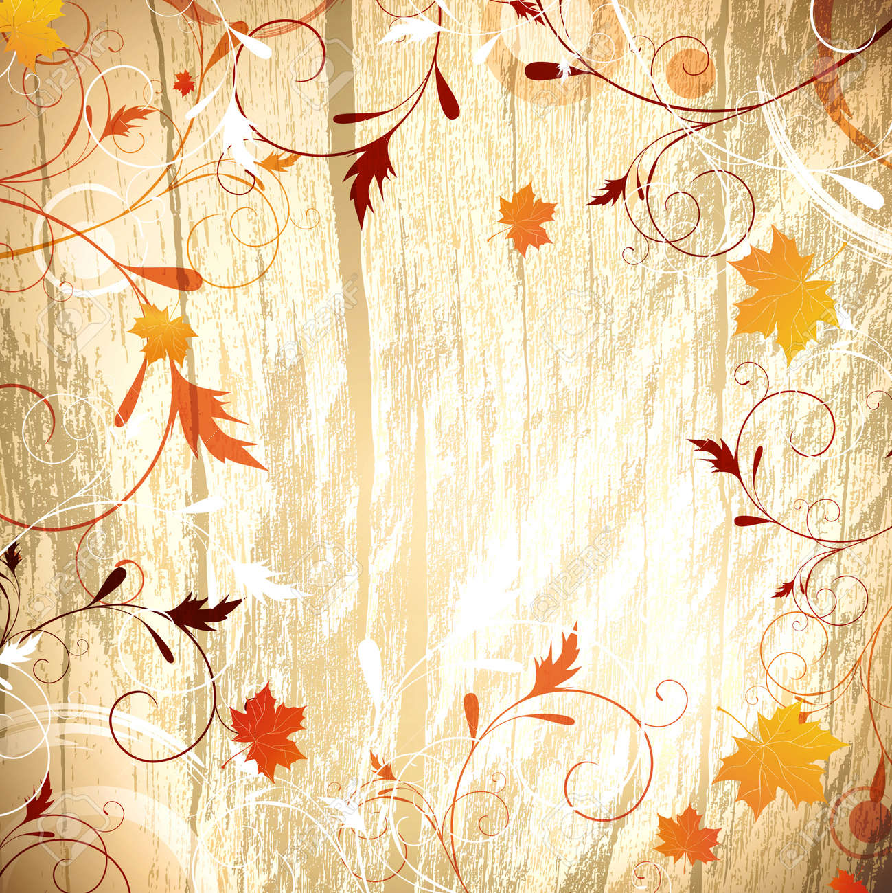 Autumn wooden background with floral and maple yellow leaves, copyspace for your text Stock Vector - 13810605