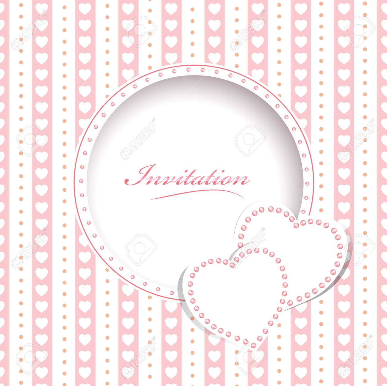 Wedding Greetings Or Invitation Card With Hearts Royalty Free