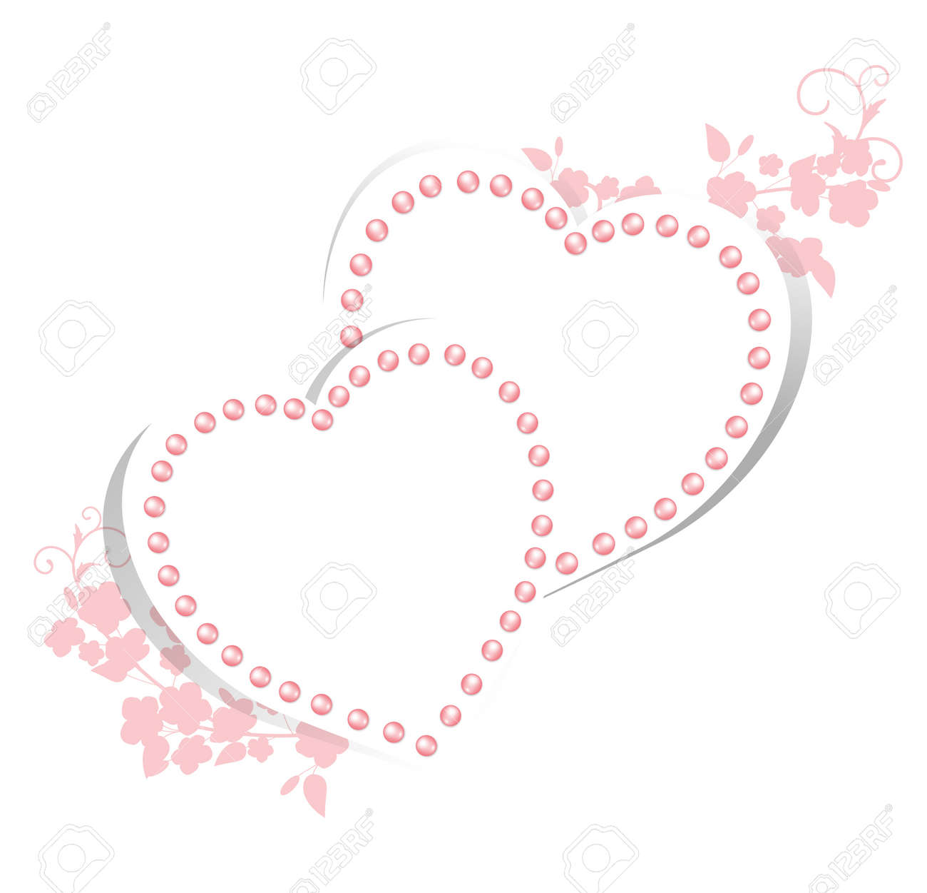 Pearl Hearts With Floral For Wedding Greetings Or Invitation