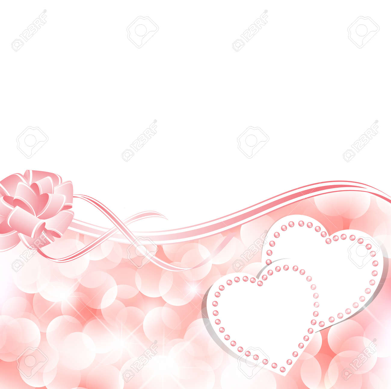 Wedding Greetings Or Invitation Card Template With Hearts Royalty