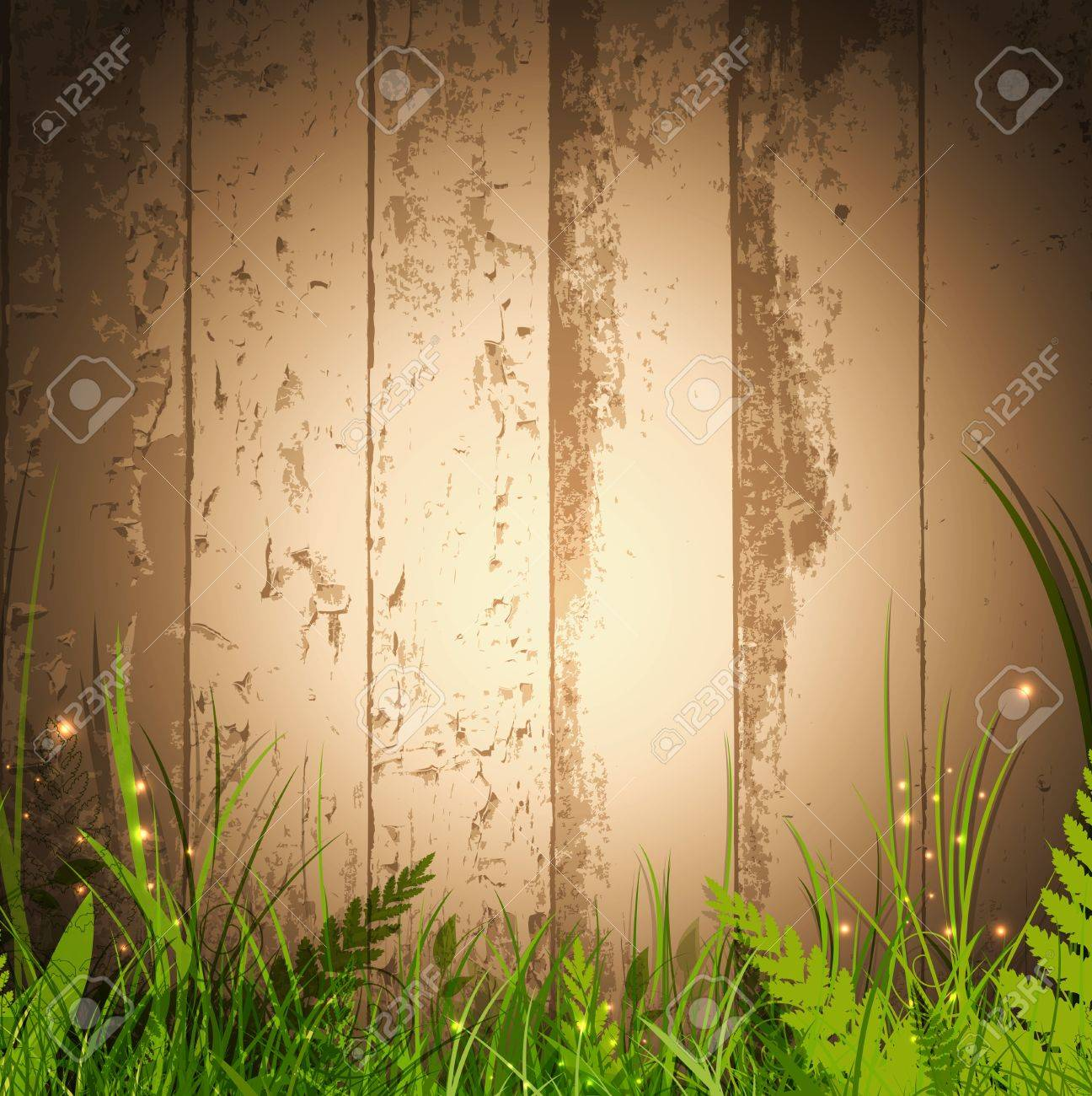 magic grass over wooden background with spotlight for your advertising Stock Vector - 14043698