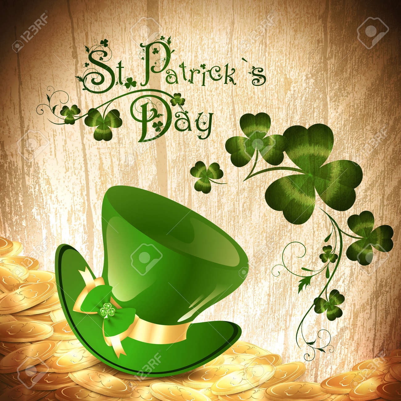 St.Patrick holiday background with gold coins, green hat and chamrock Stock Vector - 14083881