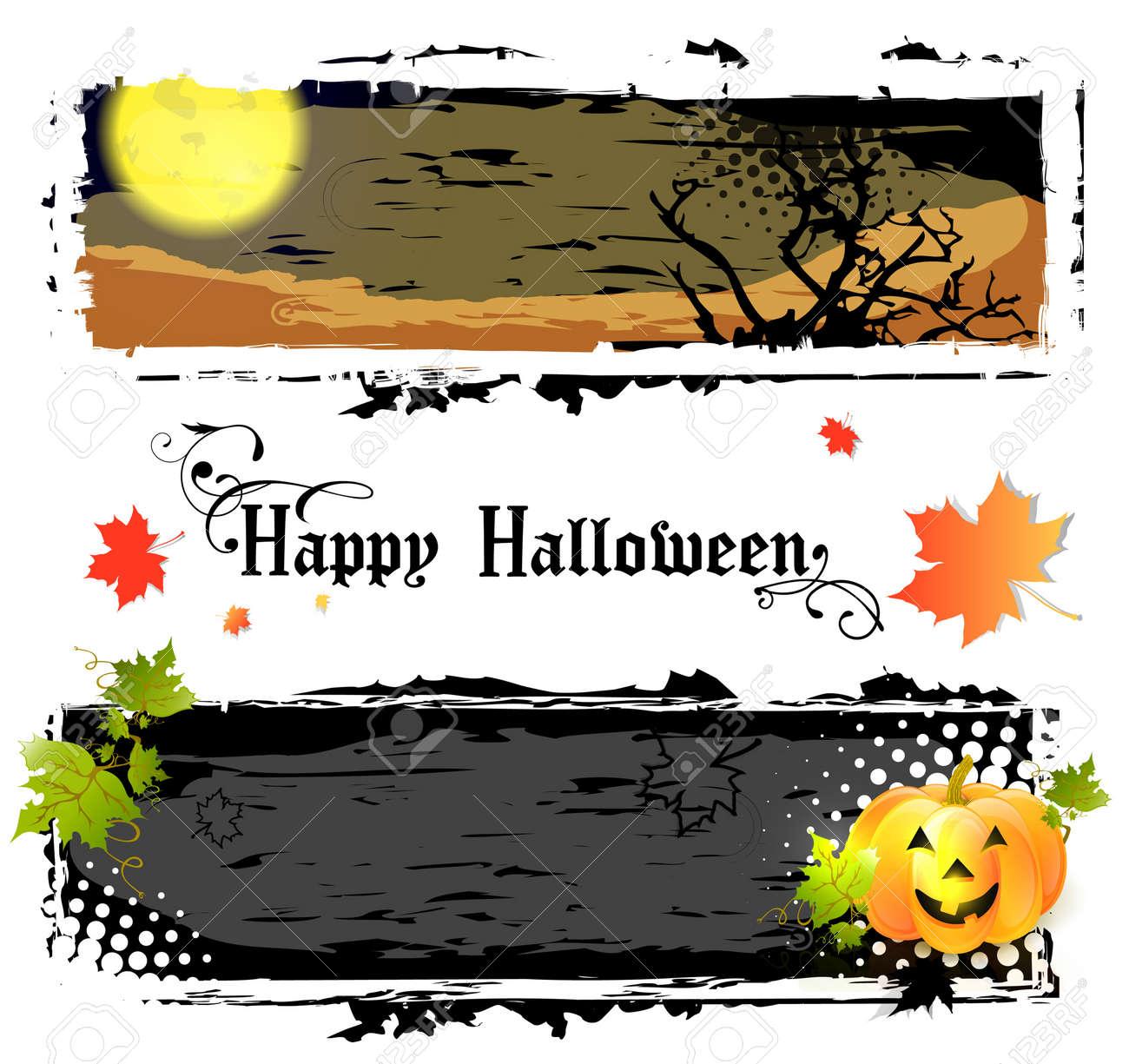 Happy Halloween Banners With Pumpkin and Big Moon Stock Vector - 15071869