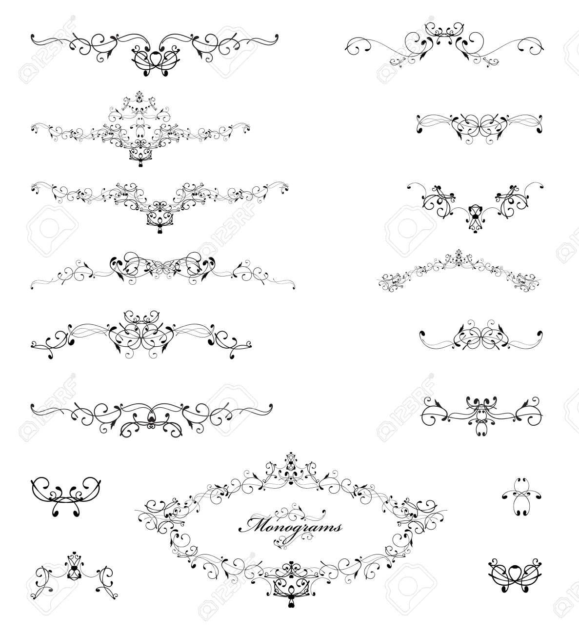 Swirl Monograms And Frames For Decoration Stock Vector - 15584246