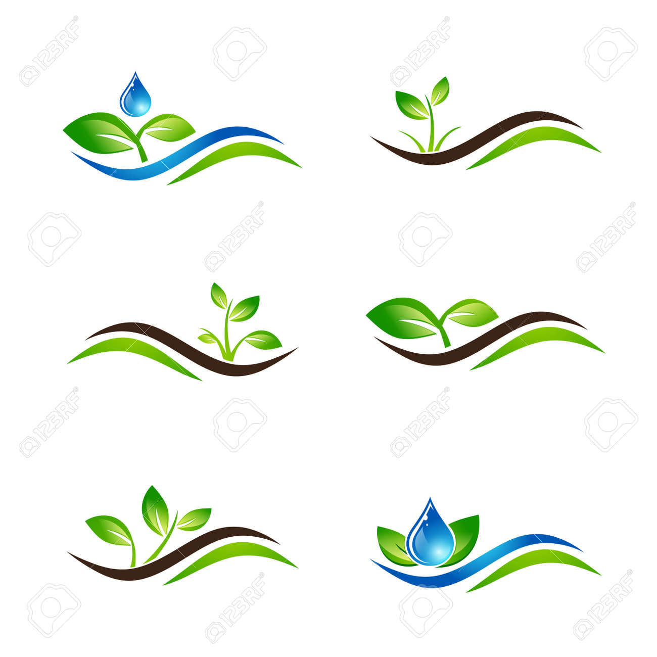 Green Sprout Landscape Agricultural Icon Design Collection Over White - 52562787