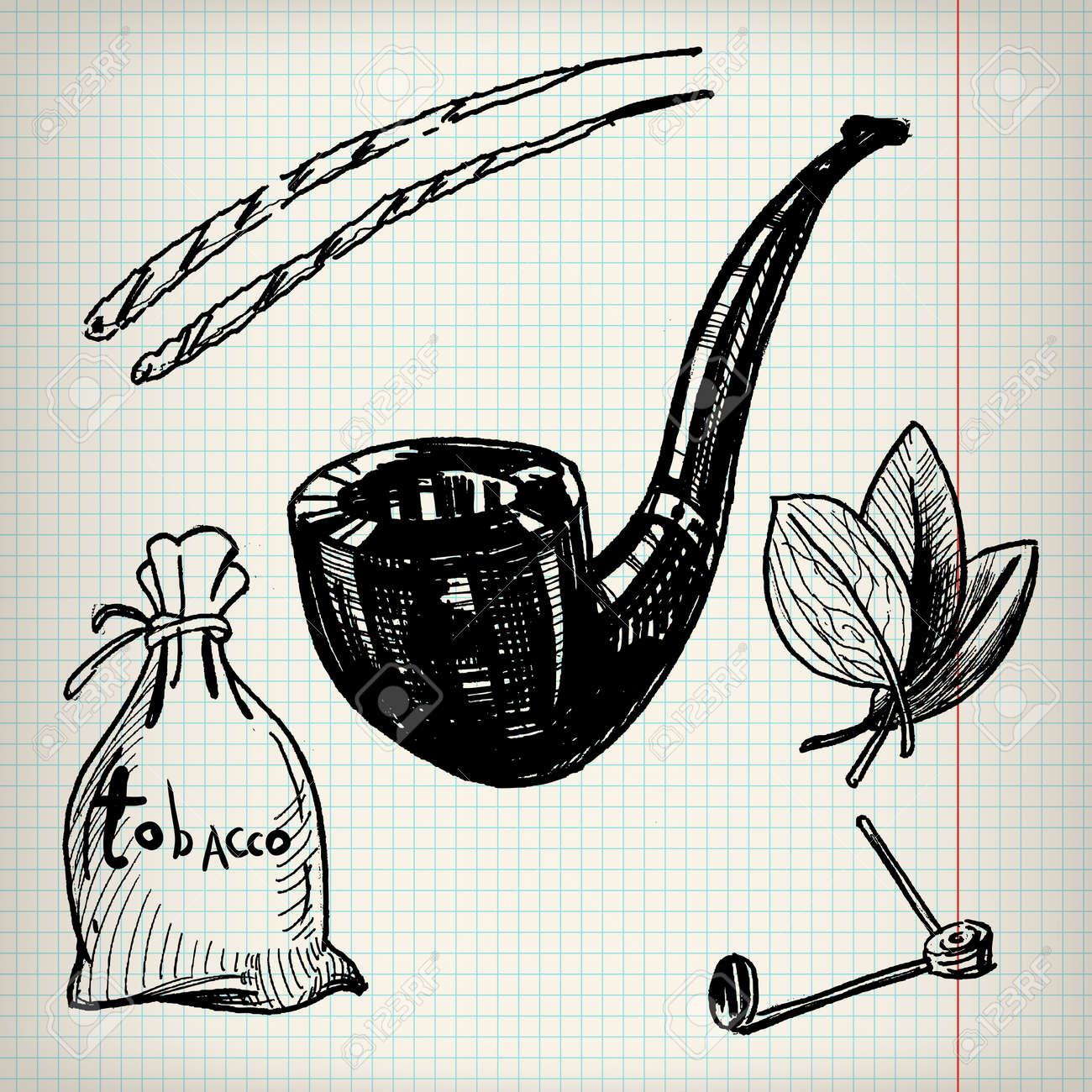 Set of sketches on the theme of tobacco stock vector 49359071