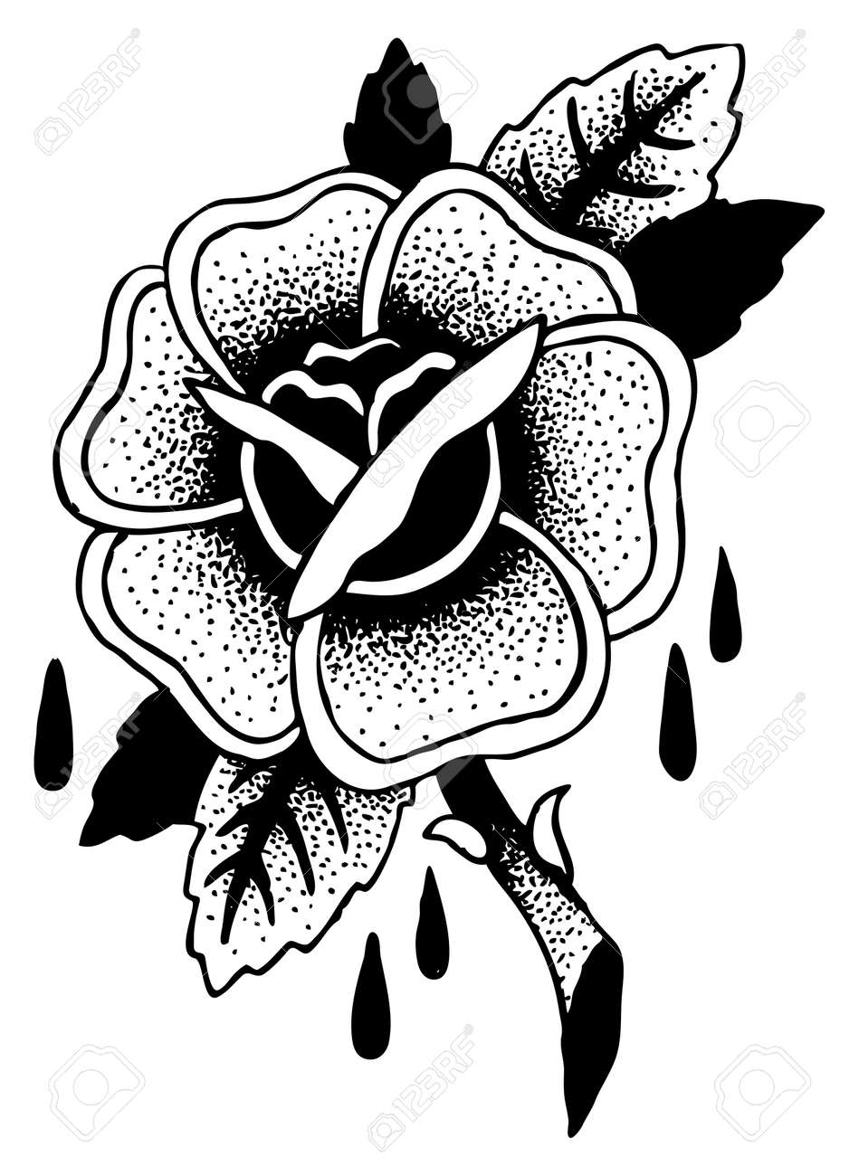 Roses Tattoo Sketch Doodle Illustration Royalty Free Cliparts