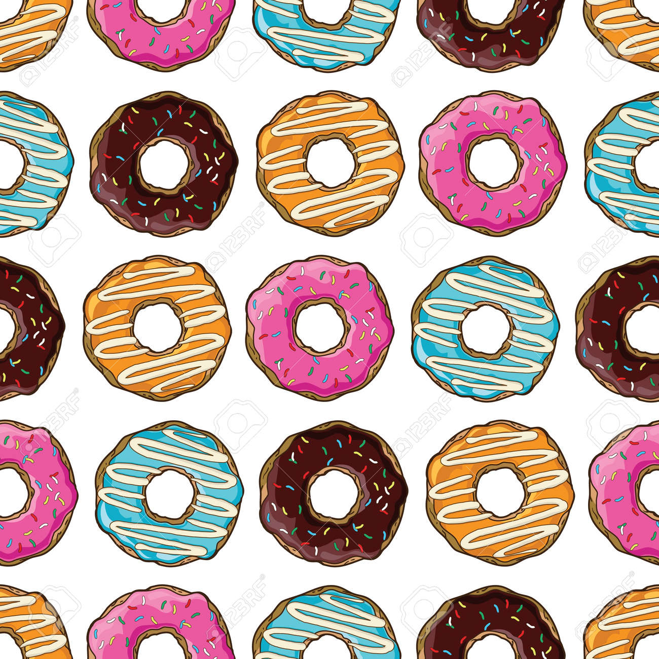 Seamless pattern with donuts - 21523926