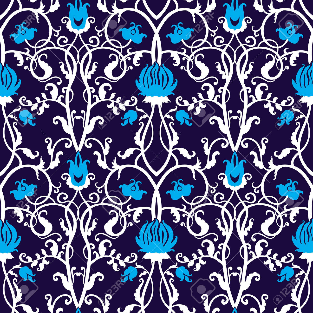 Beautiful Vector Pattern Drawn In Art Nouveau Style Stock